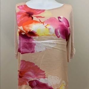 The Limited Pink Floral Short Sleeves Blouse
